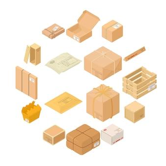 Conjunto de iconos de caja de embalaje de paquete, estilo isométrico