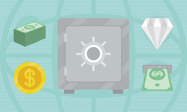 Conjunto de iconos de caja fuerte y dinero