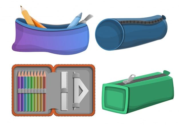 Conjunto de iconos de caja de lápices, estilo de dibujos animados