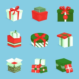 Conjunto de iconos de caja de regalo