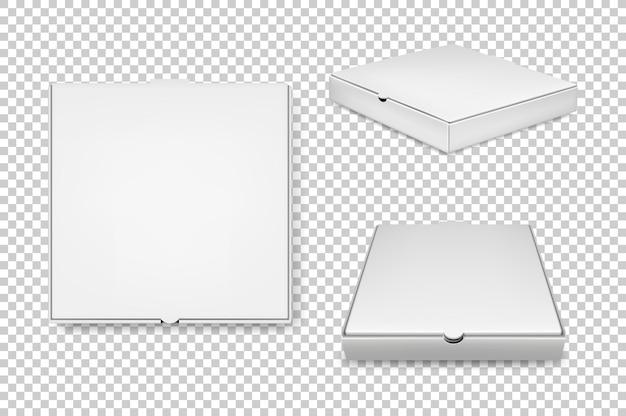 Conjunto de iconos de cajas de pizza blanca realista.
