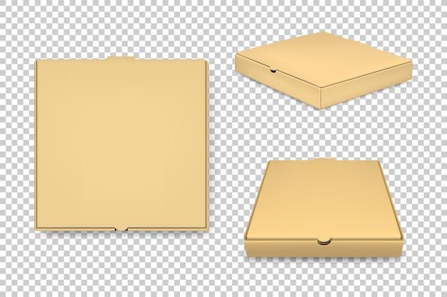 Conjunto de iconos de cajas de pizza marrón realista.