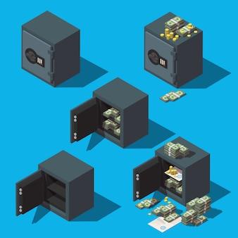 Conjunto de iconos de cajas de seguridad con monedas, dinero y documentos
