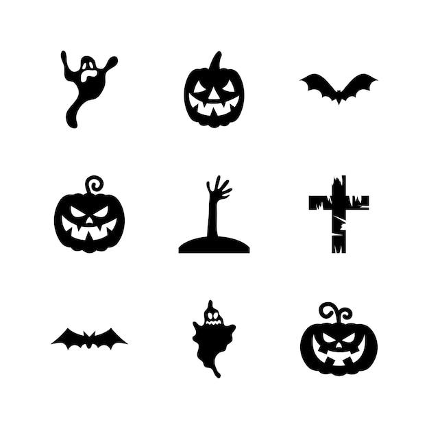 Conjunto de iconos de calabazas y halloween sobre fondo blanco, estilo silueta