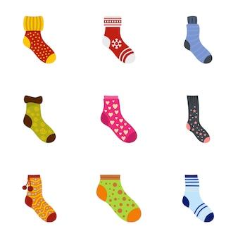 Conjunto de iconos de calcetines, estilo de dibujos animados