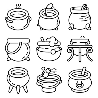 Conjunto de iconos de caldero, estilo de contorno