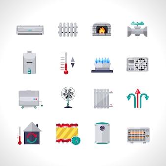 Conjunto de iconos de calefacción