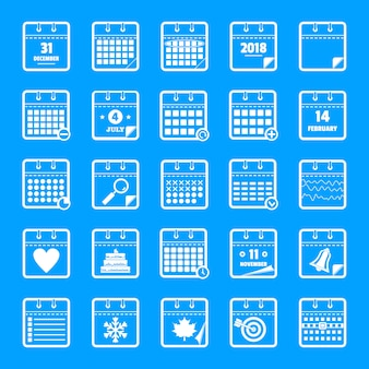 Conjunto de iconos de calendario, estilo simple