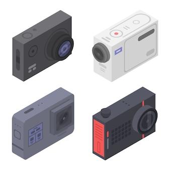 Conjunto de iconos de cámara de acción, estilo isométrico