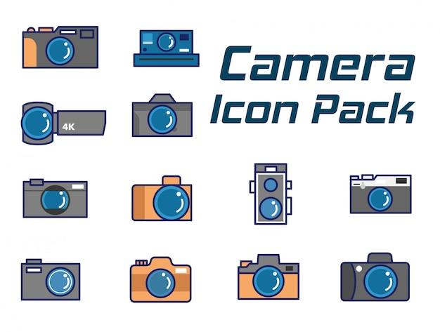 Conjunto de iconos de cámara, iconos de cámara de línea plana establecidos como estilo moderno