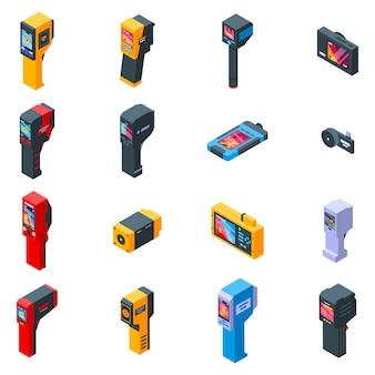 Conjunto de iconos de cámara termográfica, estilo isométrico