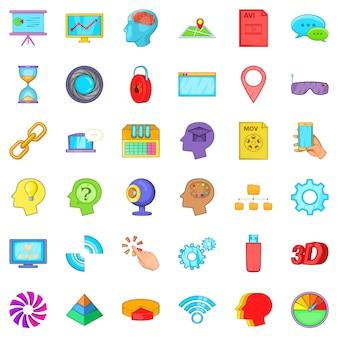 Conjunto de iconos de cámara web, estilo de dibujos animados