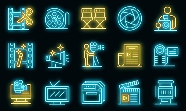 Conjunto de iconos de camarógrafo. esquema conjunto de iconos de vector de camarógrafo color neón en negro