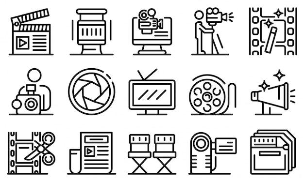 Conjunto de iconos de camarógrafo, estilo de contorno
