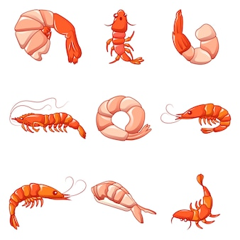 Conjunto de iconos de camarones camarones cocidos