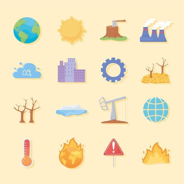 Conjunto de iconos de cambio climático