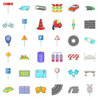 Conjunto de iconos de camino suspiro, estilo de dibujos animados