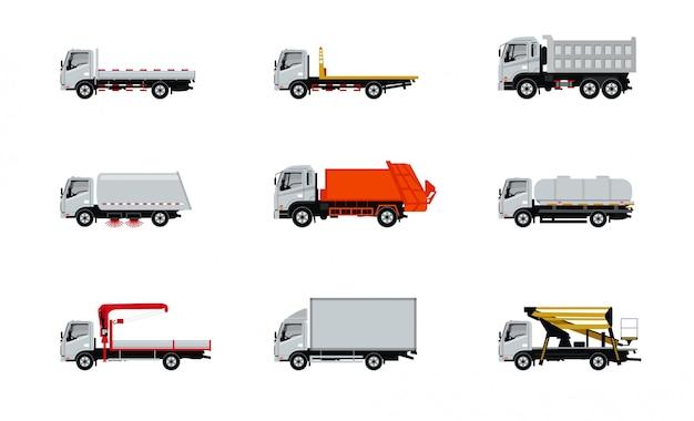 Conjunto de iconos de camión aislado
