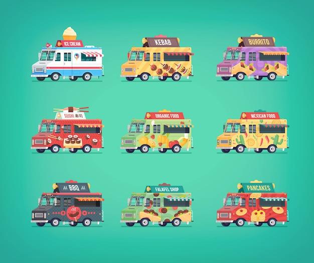 Conjunto de iconos de camiones de comida. composiciones conceptuales modernas para vehículos de servicio de entrega de alimentos.