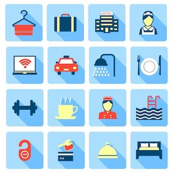 Conjunto de iconos de campana de cama de baño de recepción de cama de hotel en cuadrados coloridos en estilo de color plano
