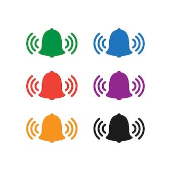 Conjunto de iconos de campana de colores