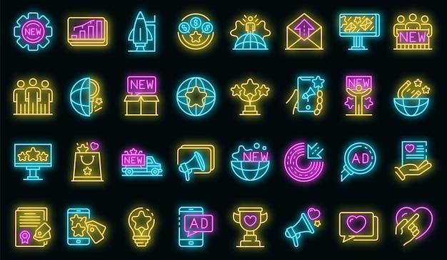 Conjunto de iconos de campaña. esquema conjunto de iconos de vector de campaña neoncolor en negro
