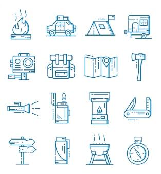 Conjunto de iconos de camping con estilo de contorno