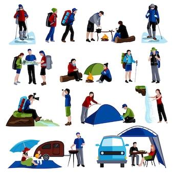 Conjunto de iconos de camping y personas