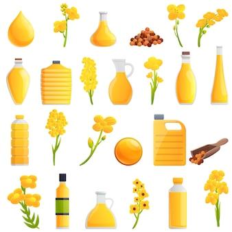 Conjunto de iconos de canola. conjunto de dibujos animados de iconos de canola para web
