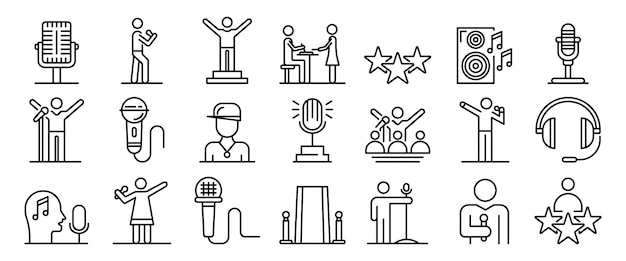 Conjunto de iconos de cantante, estilo de contorno