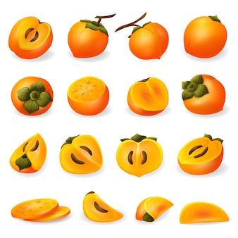 Conjunto de iconos de caqui. conjunto de dibujos animados de iconos de caqui para diseño web