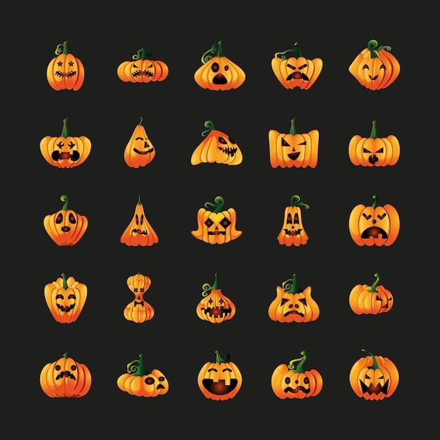 Conjunto de iconos con cara de calabazas para halloween en diseño de ilustración negro