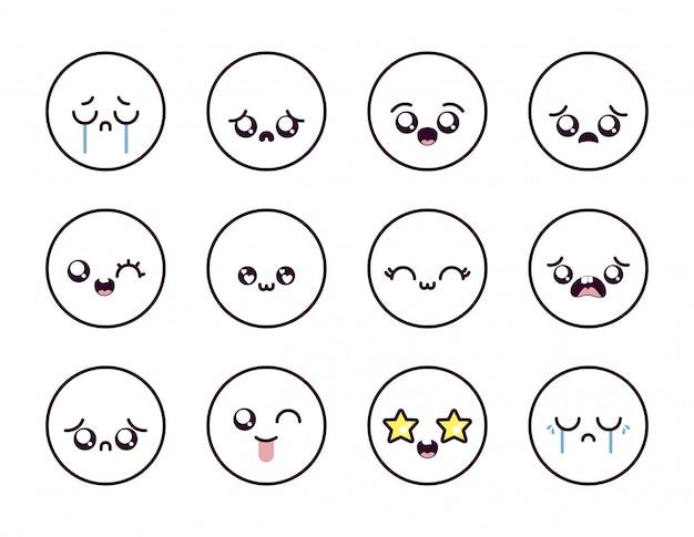 Conjunto de iconos de cara de dibujos animados kawaii dentro de círculos