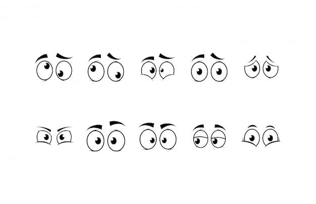 Conjunto de iconos de caras de dibujos animados aislados