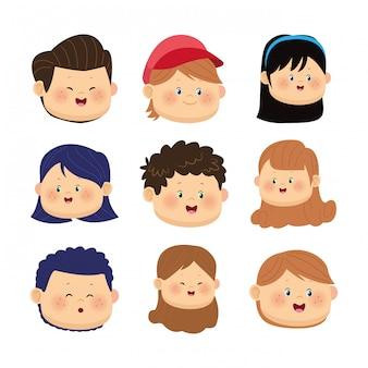 Conjunto de iconos de caras de niños felices