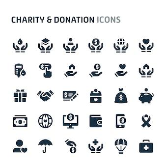 Conjunto de iconos de caridad y donación. fillio black icon series.