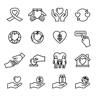 Conjunto de iconos de caridad y donación