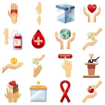 Conjunto de iconos de caridad, estilo de dibujos animados