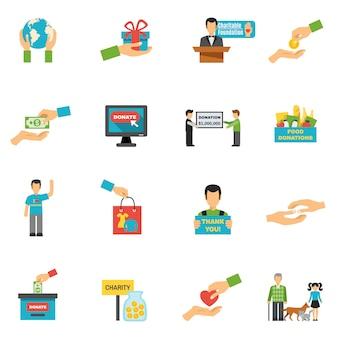 Conjunto de iconos de caridad