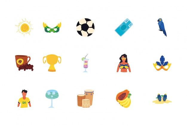 Conjunto de iconos del carnaval de río de janeiro en blanco