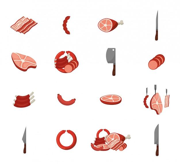 Conjunto de iconos de carne y parrilla