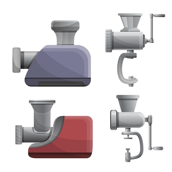Conjunto de iconos de carne picadora, estilo de dibujos animados
