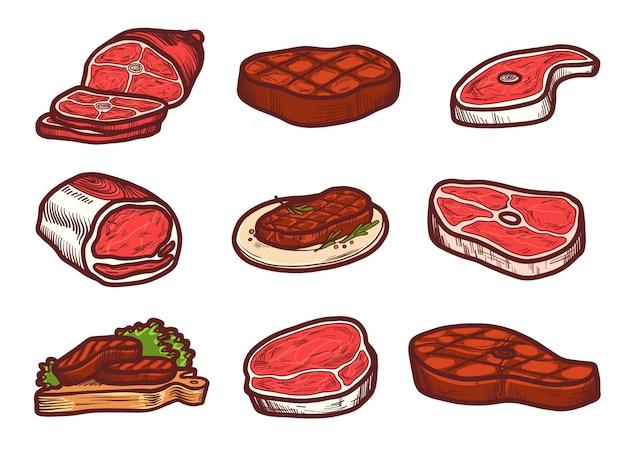 Conjunto de iconos de carne