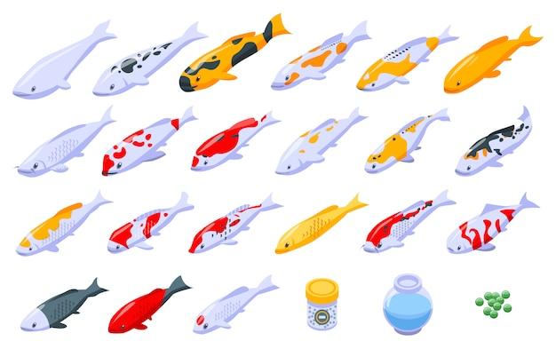 Conjunto de iconos de carpa koi, estilo isométrico