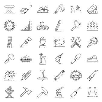 Conjunto de iconos de carpintero, estilo de contorno