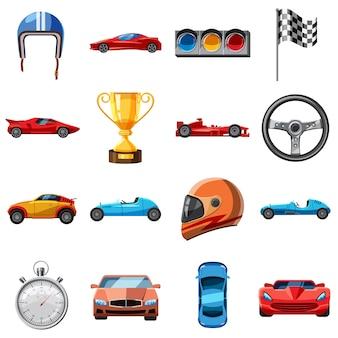 Conjunto de iconos de carrera, estilo de dibujos animados