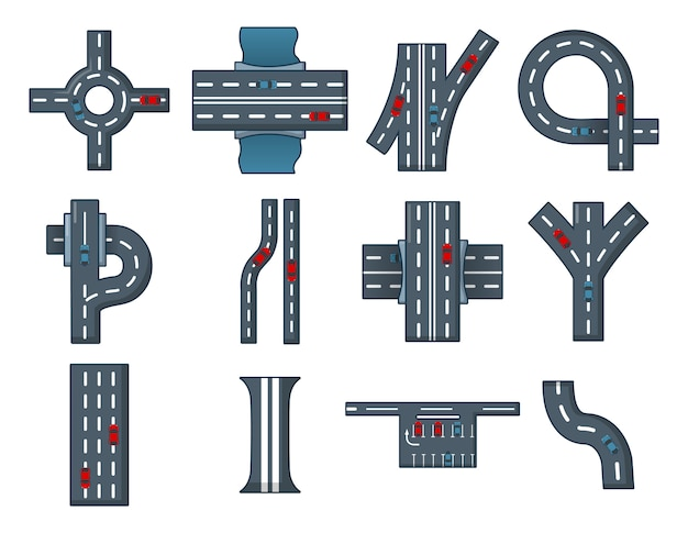 Conjunto de iconos de la carretera de la ciudad. conjunto de dibujos animados de iconos de vector de carretera de la ciudad conjunto aislado