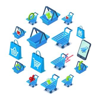 Conjunto de iconos de carrito de compras, estilo isométrico