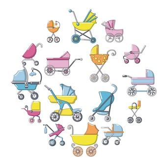 Conjunto de iconos de carro de bebé, estilo de dibujos animados
