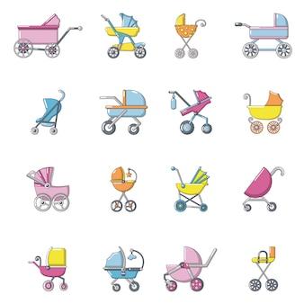 Conjunto de iconos de carro de bebé